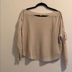 Beige sweater with sleeve detail